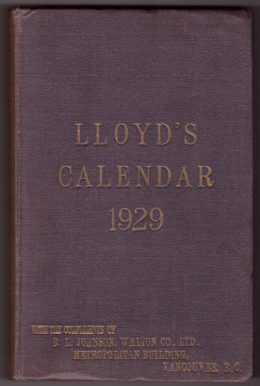 Image for Lloyd's Calendar 1929