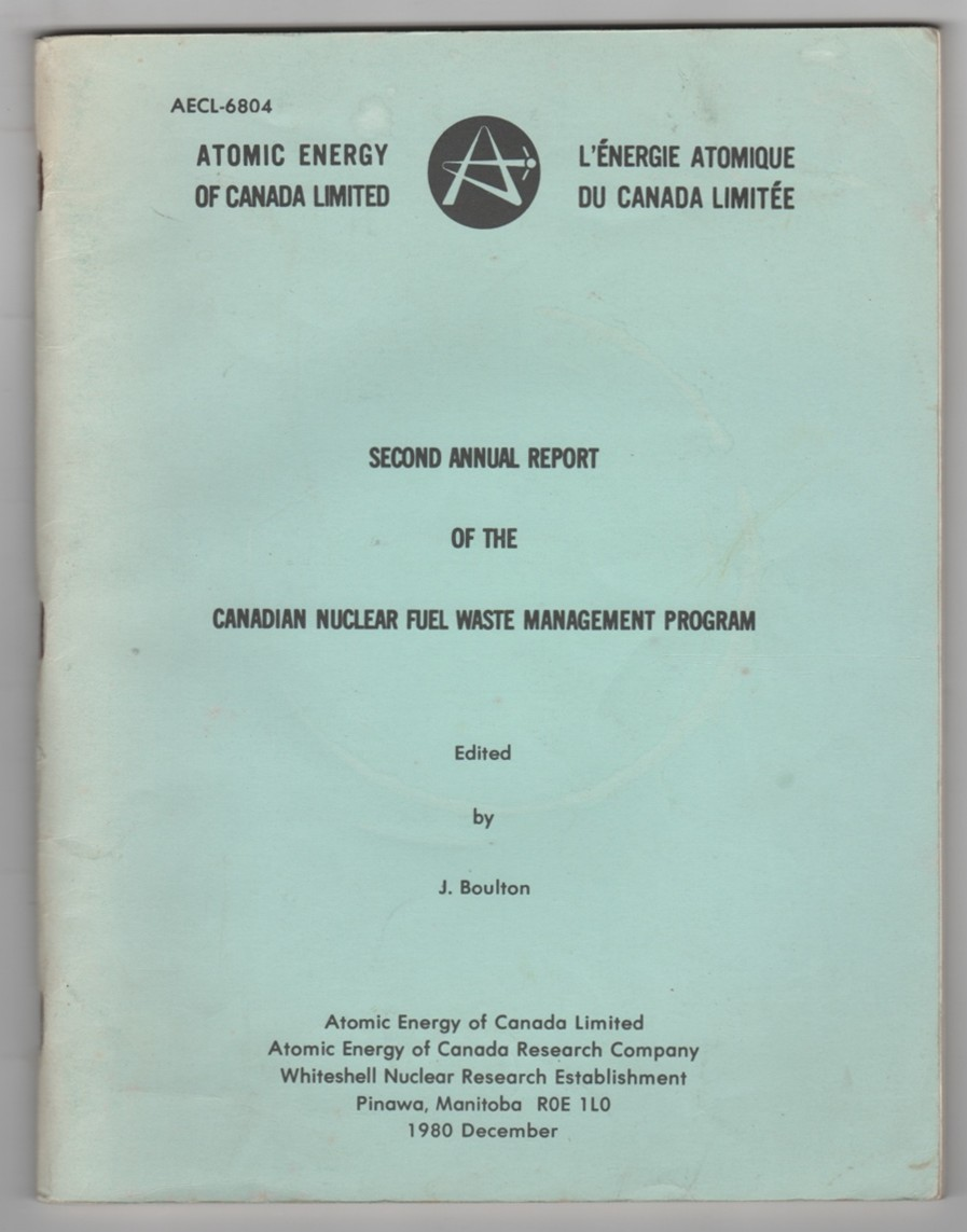 Image for Second Annual Report of the Canadian Nuclear Fuel Waste Management Program
