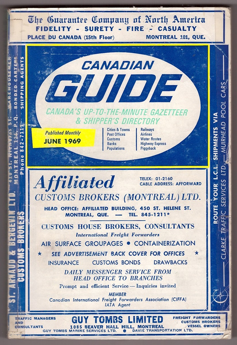 Image for Canadian Guide Canada's Up-To-The Minute Gazetteer & Shipper's Directory June 1969