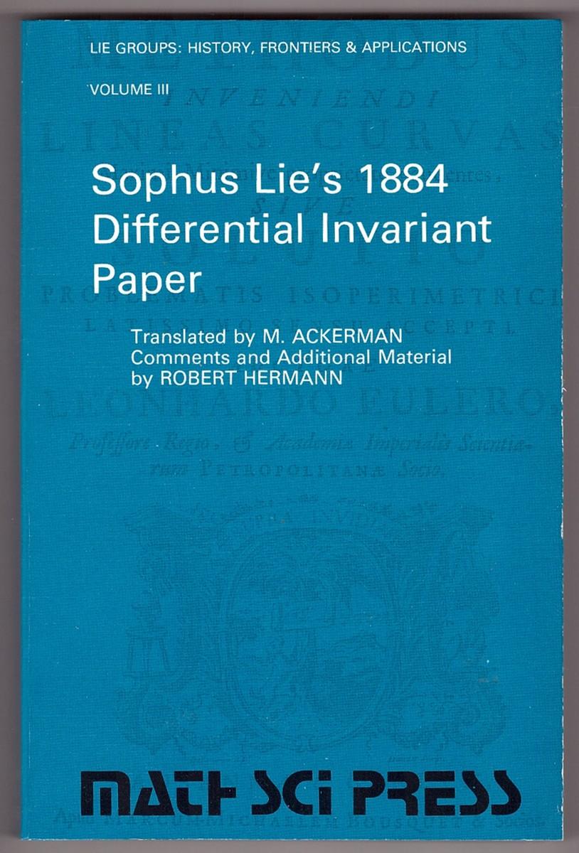 Image for Sophus Lie's 1884 Differential Invariant Paper