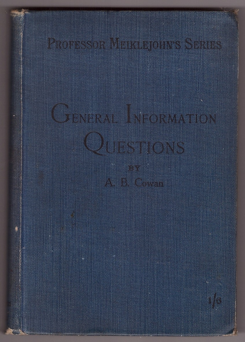 Image for GENERAL INFORMATION QUESTIONS - PROFESSOR MEIKLEJOHN'S SERIES